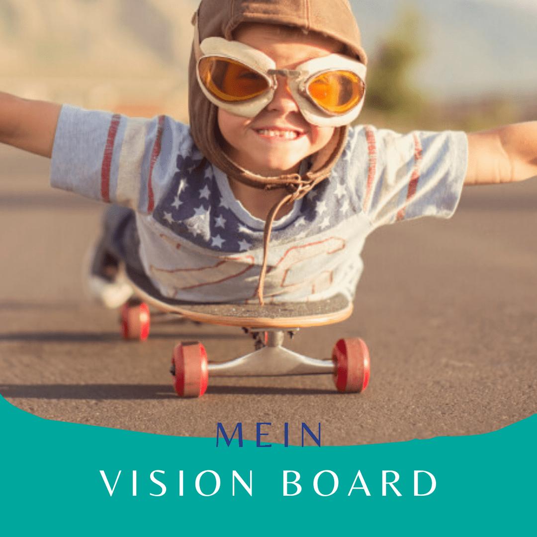 kleines Kind auf dem Skateboard auf dem Weg zu seiner Vision